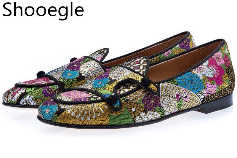 حذاء قماش كاجوال للرجال ، حذاء كاجوال مطرز يدويًا بالزهور ، شبشب مسطح للرجال