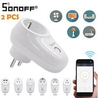 1 2 pieces Sonoff S26 WiFi prise intelligente US EU UK prise de courant sans fil prise de courant commutateur de maison intelligente travailler avec Alexa Google Assistant IFTTT