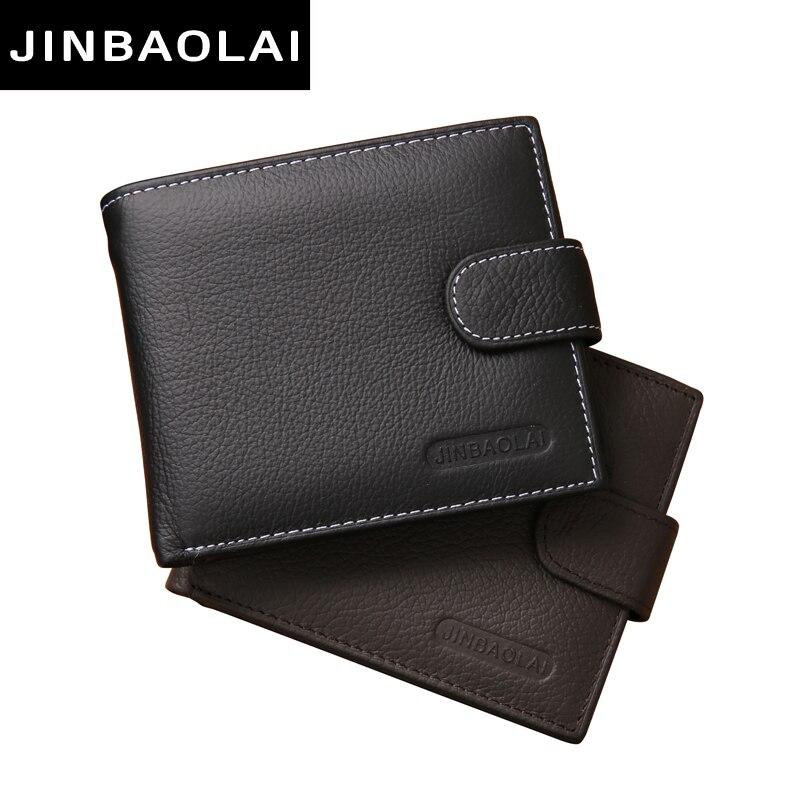 Jinbaolai التجارية المحفظة الرجال جلد طبيعي الرجال محافظ محفظة قصيرة ضمان جودة الذكور حقيبة جلد محفظة رجال المال carteira