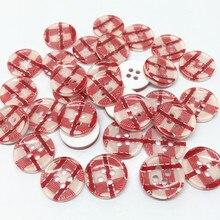Accessoires de couture en résine   100 pièces, rouge clair, argent, boutons de carreaux, bouton rond, artisanat dembellissement de noël pièces