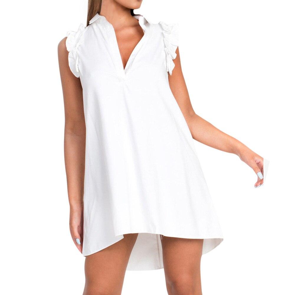 Vestidos de línea A para mujer con manga sólida Casual volantes cuello en V botón chifón Mini vestido Sexy sin mangas otoño