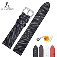 alk vision ladies watch band top luxury leather wristband women brand watch accessory lizard pattern pin buckle strap for watch