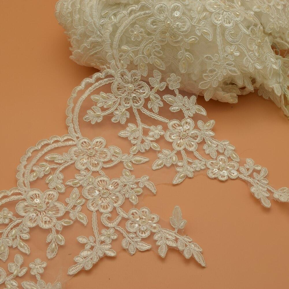 2 yardas blanco crema encaje de novia de boda adornos recortables 24cm de ancho boda de coser
