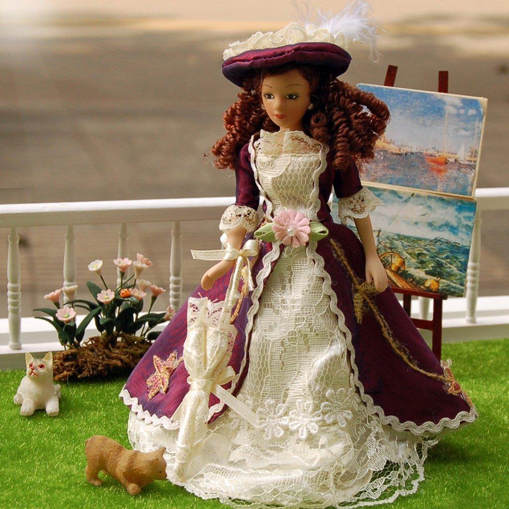 112 casa de muñecas de porcelana en miniatura Senora clásica con sombrero 1pz