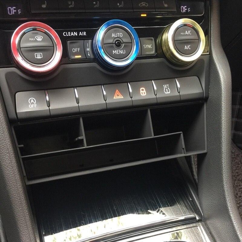 Abs caixa de armazenamento copo água apoio braço do carro assento passageiro central luva caixa organizador para skoda kodiaq gt 2017 2018 2019