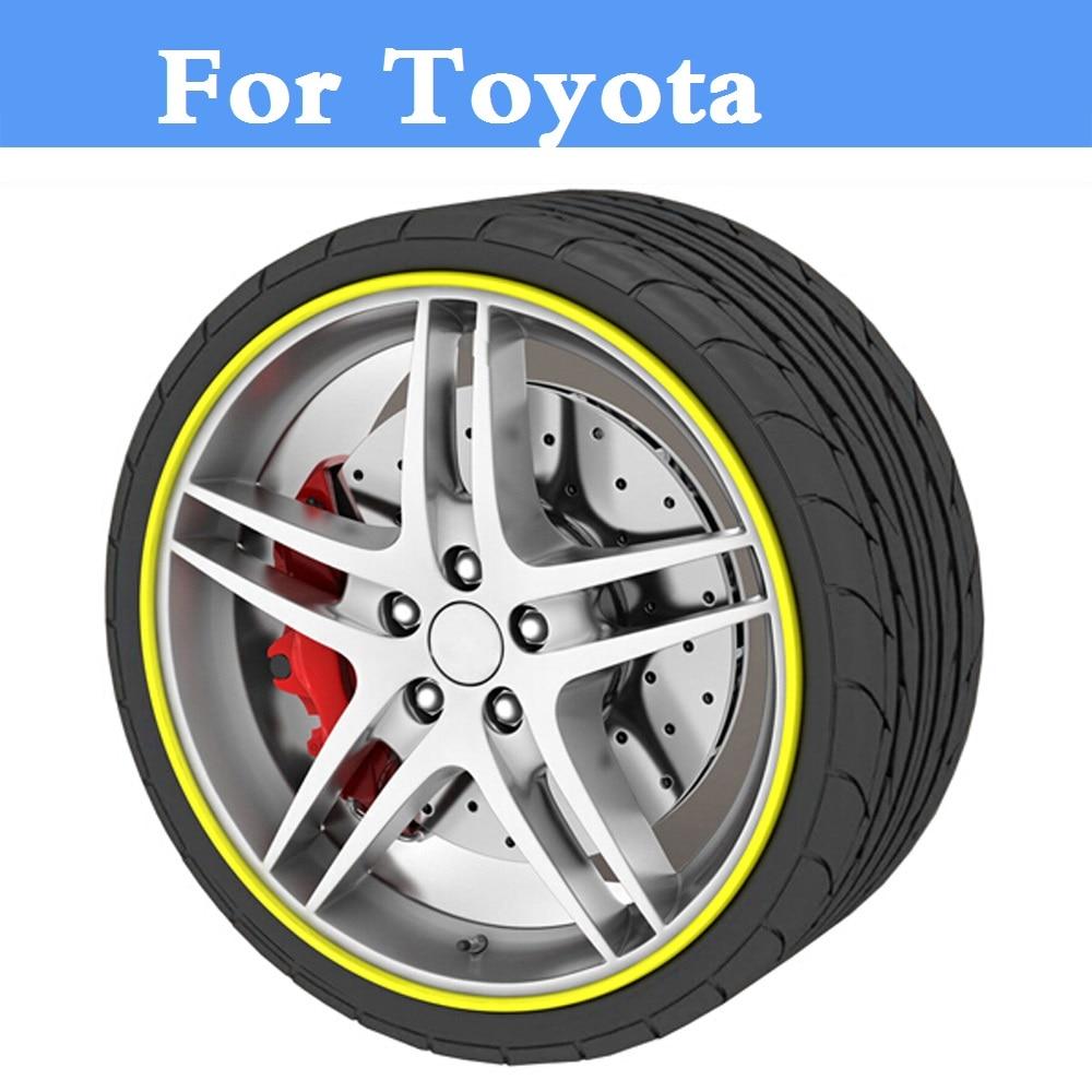 8M de rueda de coche pegatina para llanta o cubo de estilo de fundas para Toyota Avensis Aygo Belta hoja Brevis Caldina Cami Camry