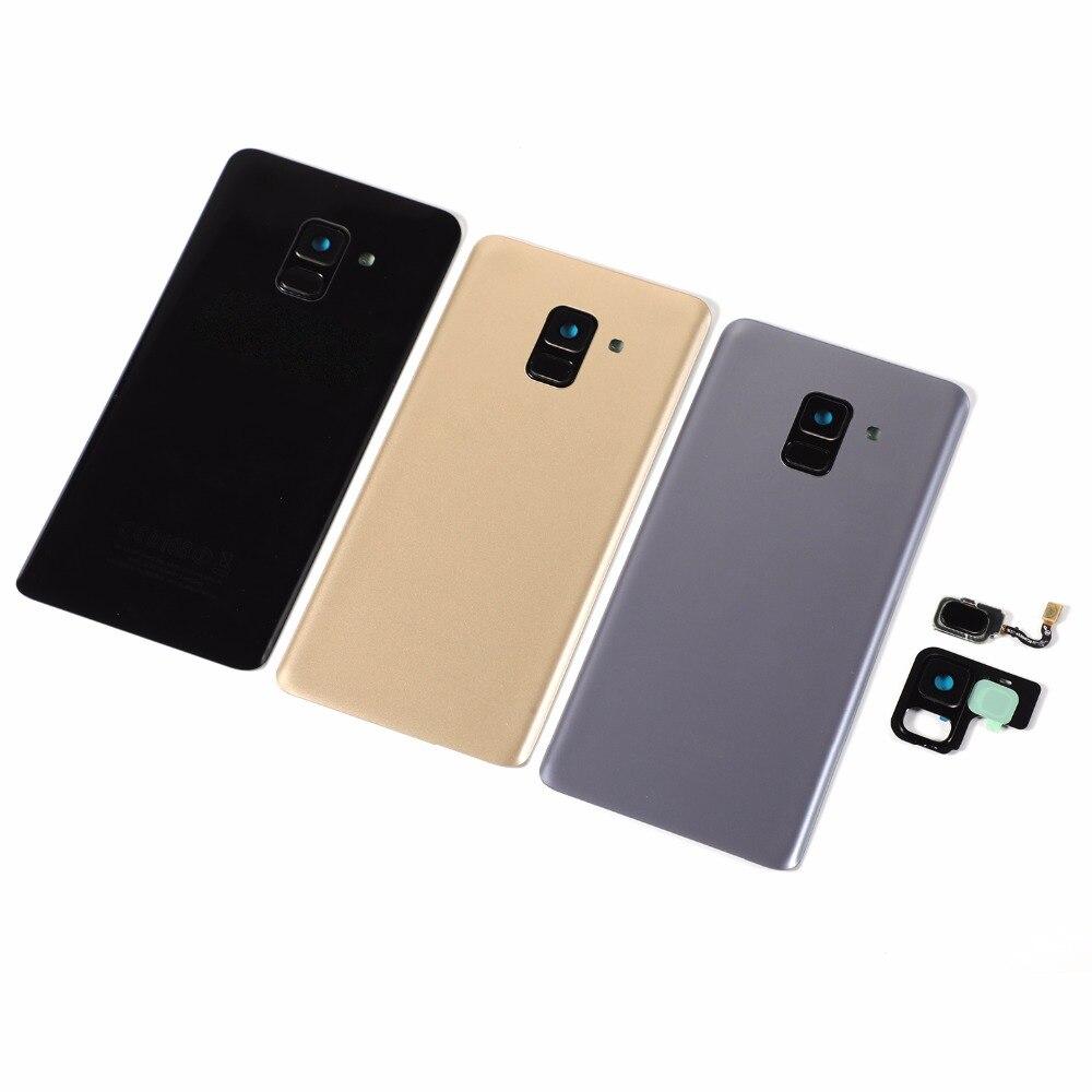 Para Samsung Galaxy A8 + A8 plus 2018 A730 A730F A730DS cubierta posterior de la batería de cristal + adhesivo + huella digital del botón de inicio