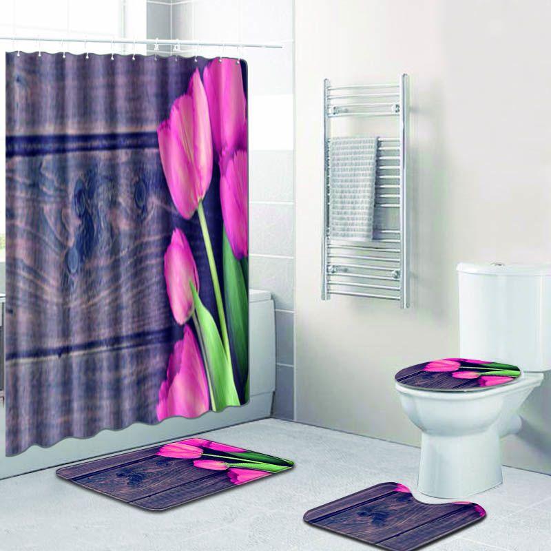 Hecho a medida 4 unids/set cortinas de ducha juego de estera de baño de poliéster antideslizante alfombra de baño Toliet alfombra lavable tapete