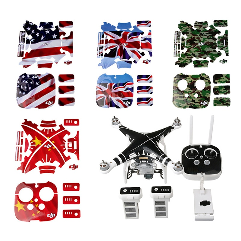 Impermeable DJI Phantom 3 calcomanías gráfico de la piel etiqueta pegatinas para DJI phantom3 cuerpo de drone + control Remoto + Accesorios