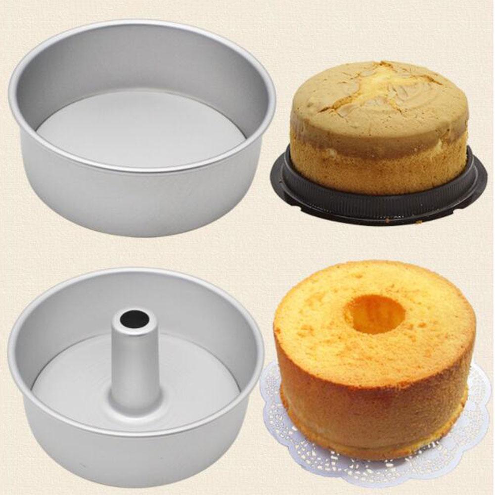 6/8 pulgadas sartén para pastel redondo Fondo extraíble hueco chimenea de molde para pasteles de pastel de hornear DIY herramientas