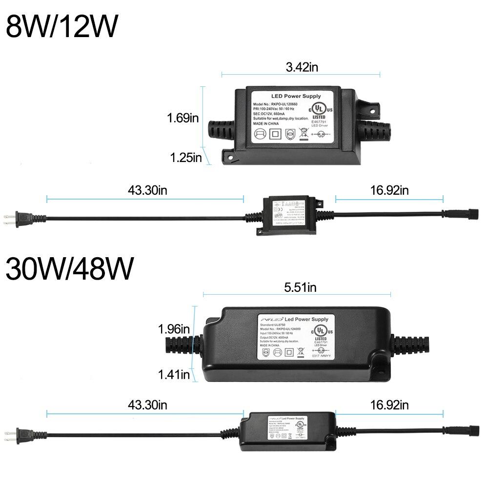 La fuente de alimentación del transformador de 12V 8W a prueba de agua para la luz LED (enchufe UE, Reino Unido, EE. UU., AU) se puede conectar a AC85-264V electricidad