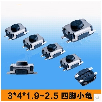 Бесплатная доставка, 100 шт., 3*4*1,8/1,9/2,0/2,5 мм, 4 PIN SMD/сенсорный переключатель/tact переключатель, 4 pin черная ручка/кнопочный переключатель