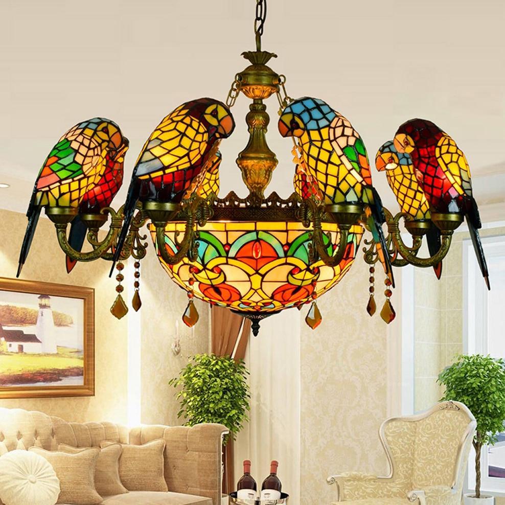 Lámpara led e27 Tiffany de cristal de aleación de Zinc para loros, lámpara LED, luces colgantes, lámpara colgante, lámpara colgante para comedor, vestíbulo