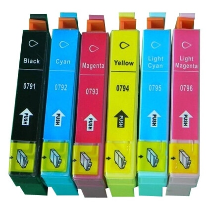 Hisaint para Epson 0791, 0792, 0793, 0794, 0795, 0796 cartucho de tinta para Stylus Photo 1400/1500 W/P50 /impresora de chorro de tinta artesano 1430