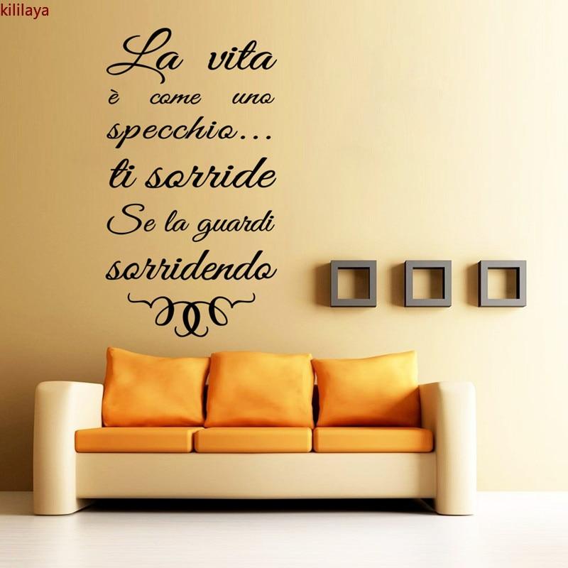 Kililaya italiano famoso diciendo decoración de LA pared de Adesivi Murali LA VITA SPECCHIO etiqueta de LA pared