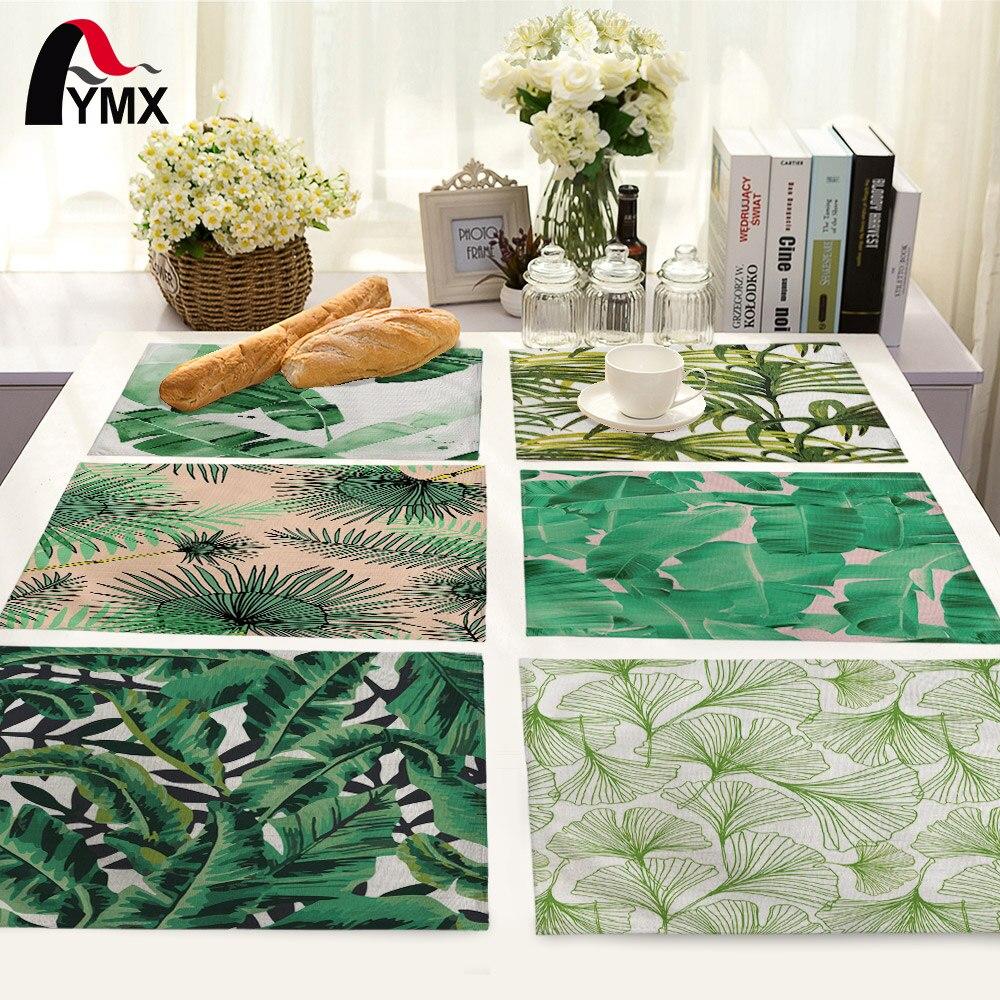 Зеленый узор в виде листьев, коврик для стола, кухонный декор, салфетки для стола, салфетки для свадьбы, столовые аксессуары, коврик для стола