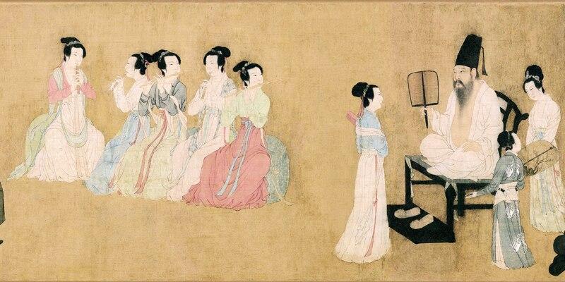 Pintura tradicional china obra maestra lienzo impresiones emperador escuchar música desde el banquete de Han Xizai por Gu Hongzhong