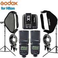 2 GODOX TT600 Camera Flash Speedlite + X1T-N Trigger 2pcs 60*60 Softbox 2pcs Light Stand Photography Photo Studio kits For Nikon