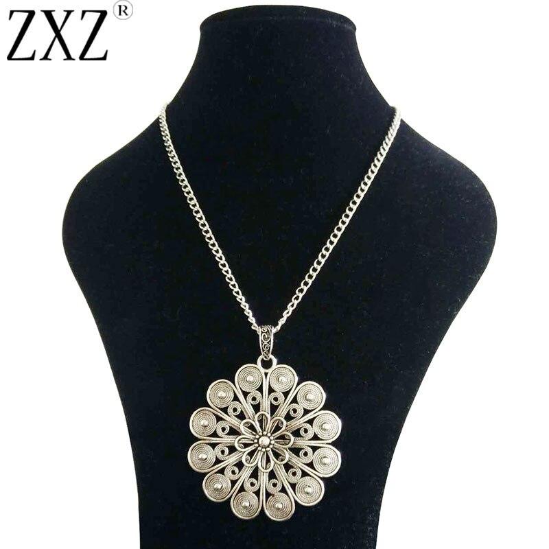 """Zxz grande afirmação abstrato metal flor boho pingente em longo curb corrente lagenlook colar 34"""""""