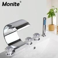 monite solid brass waterfall bathroom basin faucet deck mount washbasin bathroom tap 5 pcs set flush cold hot water mixer tap