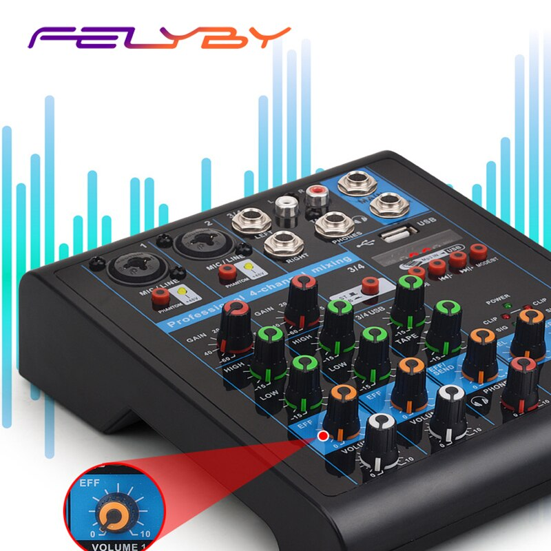 Mezclador FELYBY KR4-USB de 4 canales