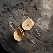 Or et argent couleur feuilles rondes crochet boucles doreilles bijoux Style Vintage ethnique boucles doreilles pour les femmes cadeau Unique