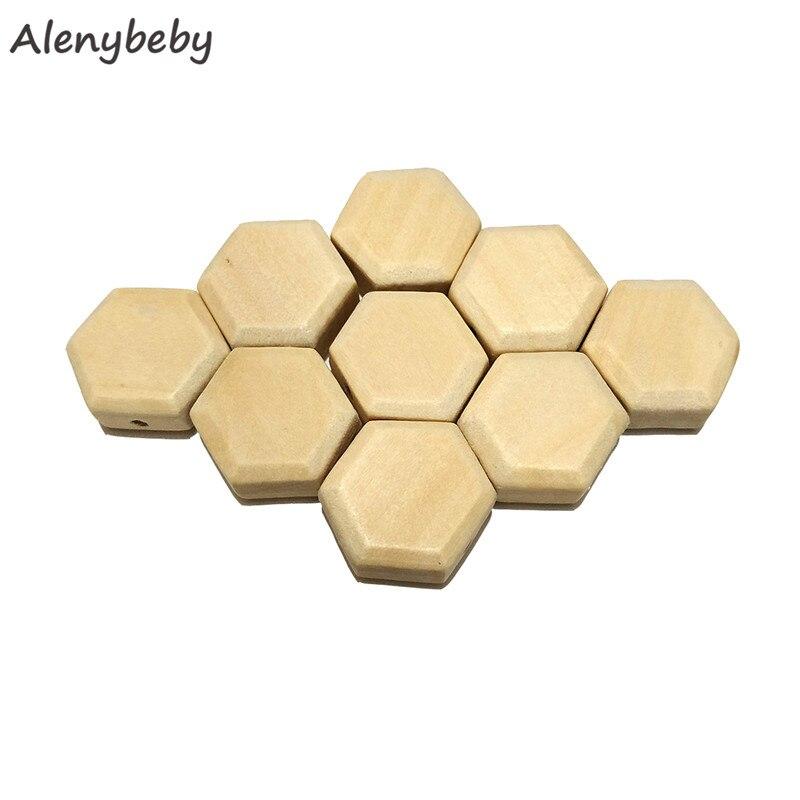 Mordedor con cuentas hexagonales de madera, cuentas de madera sólida sin acabado para joyas, collares, creaciones, manualidades y proyectos de construcción DIY