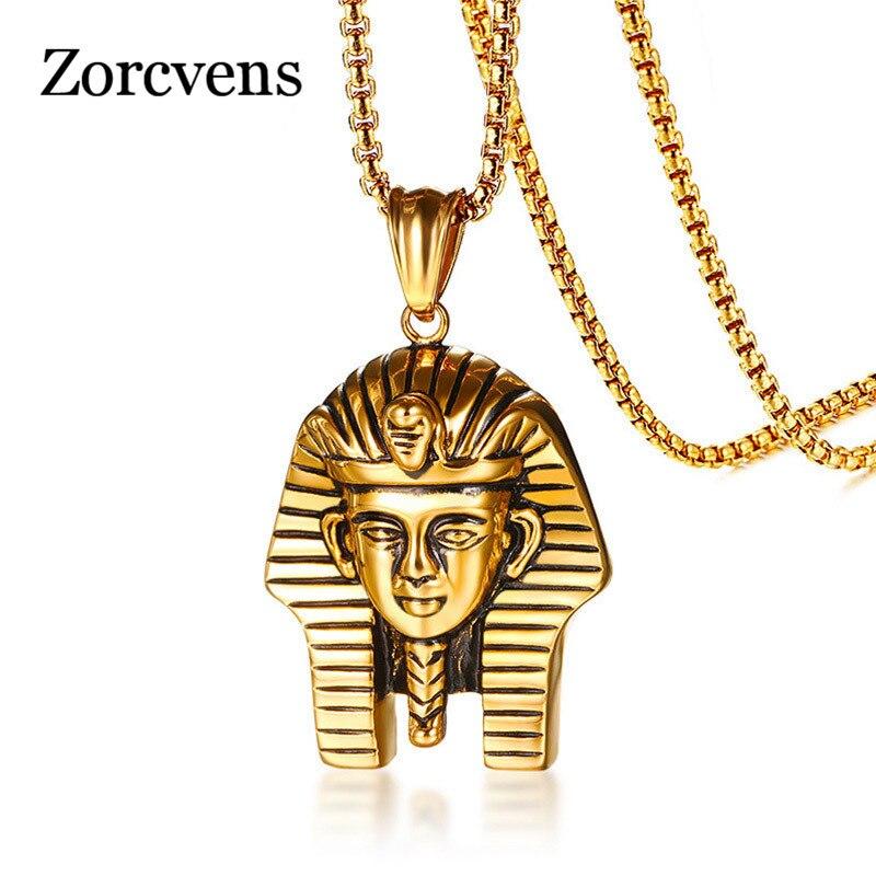Colgante de Faraón egipcio ZORCVENS para hombre, collar dorado de 24 pulgadas, cadena de caja de acero inoxidable, joyería Punk masculina, joyería religiosa