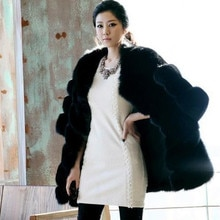 Fox fur coat high quality luxury fur overcoat
