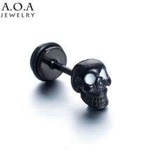 Hip-hop acier inoxydable squelette boucles doreilles noir couleur Punk Rock crâne boucles doreilles pour Cool hommes/femmes