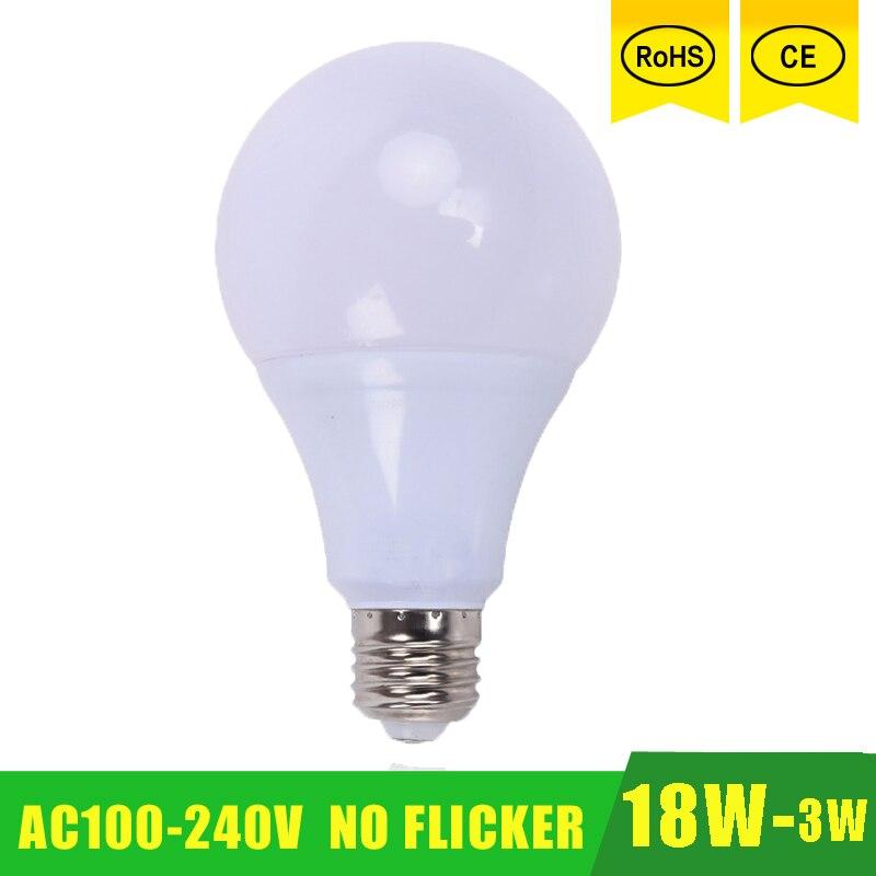 E27 лампы светодиодный светильник 21 Вт 18 Вт 15 Вт 12 Вт 9 Вт 6 Вт 3 Вт 110V 220V 230V 240V SMD 2835 Светодиодный свет светодиодный ЛАМПЫ лампочка освещения Высо...