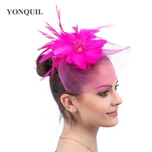 Bride Tulle Fashion Fascinator Hair With Fancy Feather Flower Headwear Cocktail Race Ladies Hair Accessories Hair Pin Event
