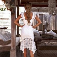 Ordifree 2020 été femmes blanc dentelle robe de soirée Spaghetti sangle élégante dame sans manches Sexy moulante longue robe