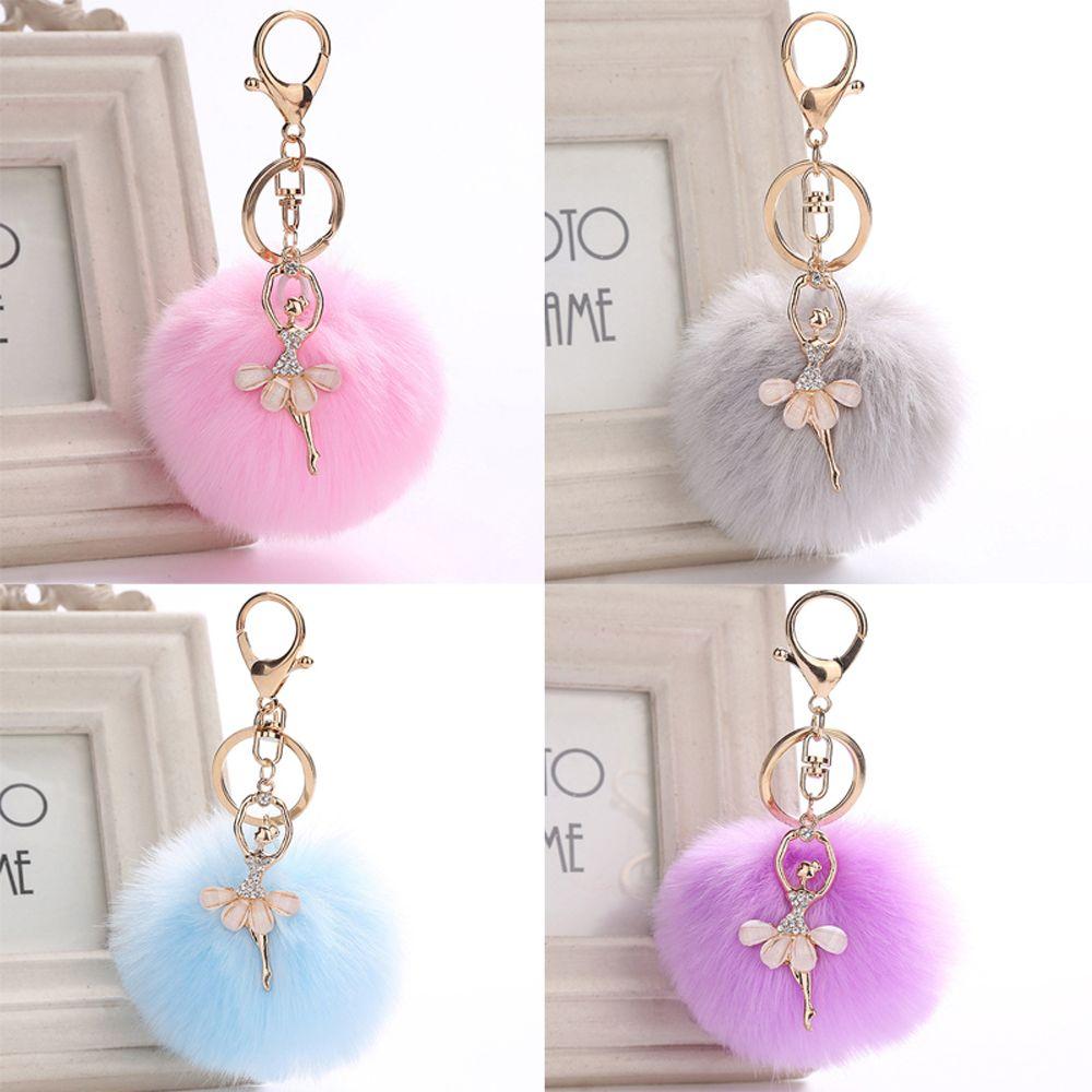 Faux Rabbit Fur Car Keychain Angel Fluffy Puff Ball Pendant Women Fashion Jewelry Keyring Fashion Plush Handbag Accessories