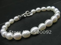 stunning 7mm rice white freshwater pearl bracelet free shipping
