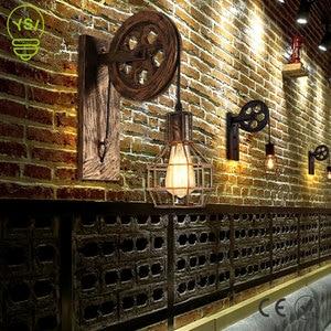 Creative Retro Loft Wall Lamp Adjustable Lifting Pulley Wall Light Porch Aisle Corridor Cafe Bronze Sconce Light