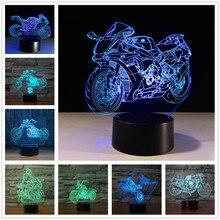 3D Форсаж 8 мотоциклетный светодиодный ночник, меняемый цвет, настольная лампа с метакрилатной пластиной, детский ночник