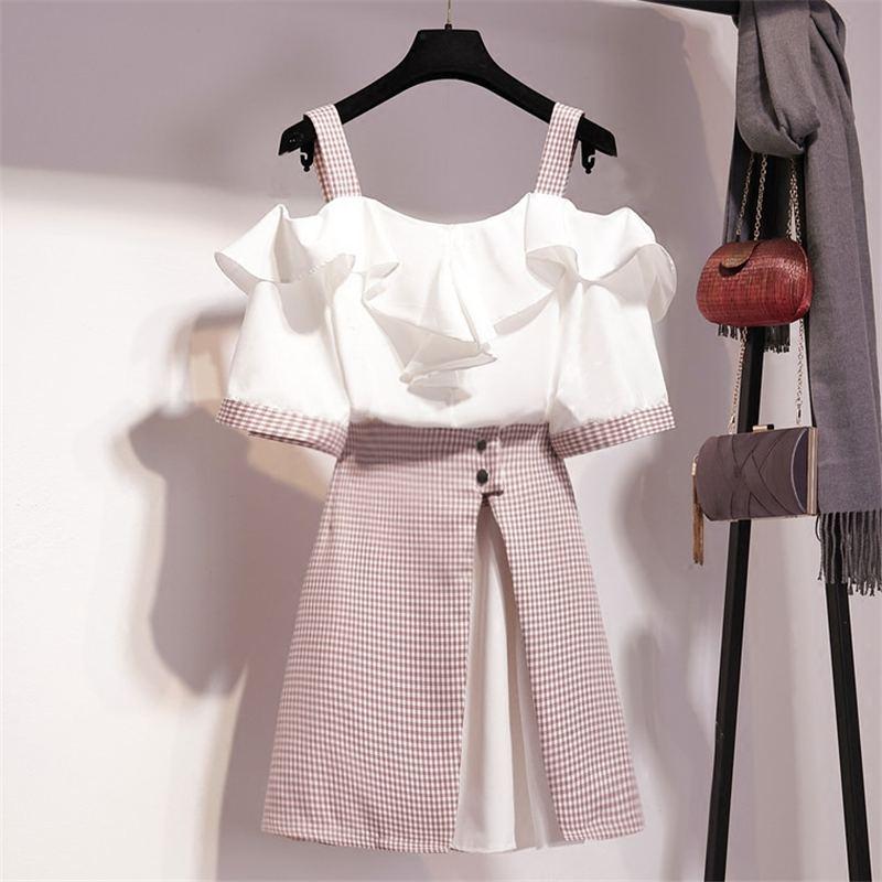 2020 Summer Women Spaghetti Strap Sweet Ruffles Chiffon Shirt + Plaid Patchwork Asymmetry Skirt Suit Lady Party Elegant Set Z211