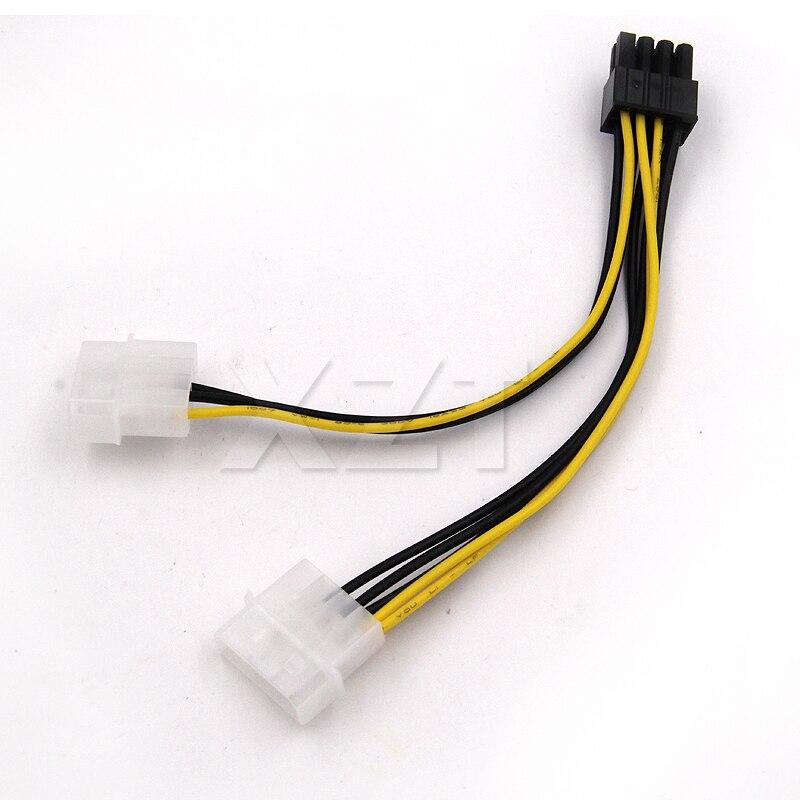6 pulgadas 2 x Molex de 4 pines a 8 pines PCI Express tarjeta de vídeo PCI-E ATX PSU convertidor de potencia cable-enhebrado a Pcie 8 pines (6 + 2) adaptador