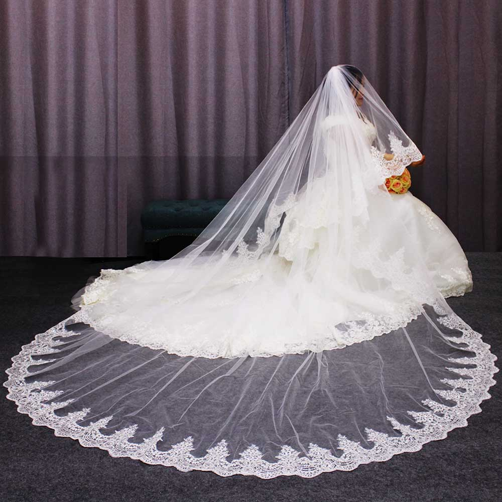 Luxury Sparkling Lace Cathedral Bridal Veil 2 T Long 3 Meters White Ivory Tulle with Comb Wedding Voile Mariage