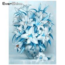 EverShine 5D diamant peinture pleine ronde perceuse fleur photos de strass bricolage diamant broderie fleurs perles papier peint