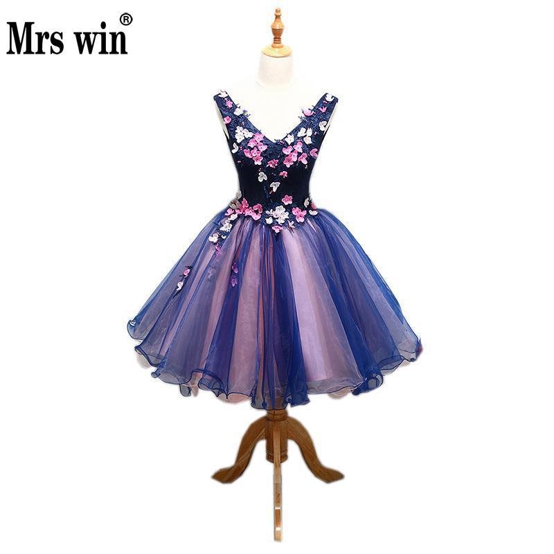 Vestido de graduación 2020 Mrs Win con cuello en V, apliques florales clásicos, Mini vestido de baile Noble, vestidos de dulce quinceañera, vestido Formal para fiesta de graduación