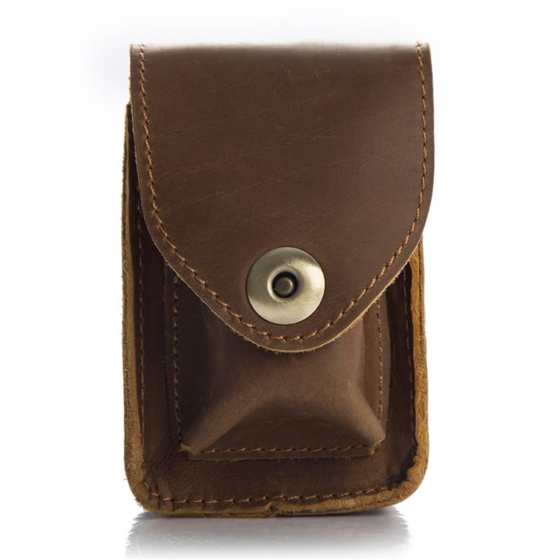 Bolso de cintura de moda hecho a mano mechero de cuero cajita mechero de queroseno soporte de cubierta portátil marrón cigarrillo caja más ligera YH