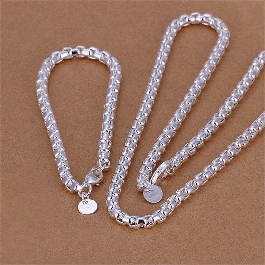 Conjuntos de joyería de color plateado de alta calidad, temperamento exquisito a la moda para hombres, collar redondo con rejilla, pulseras S058