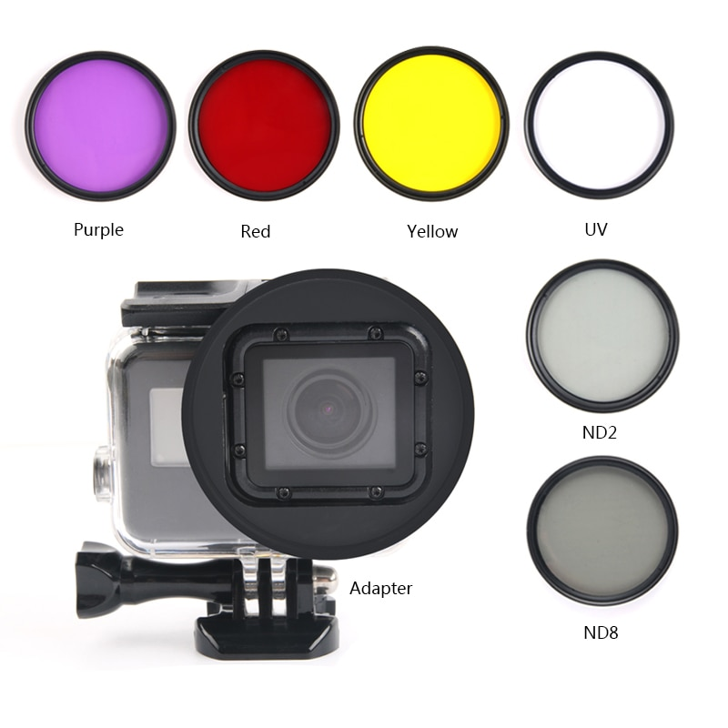 6 en 1 58mm filtres pour GoPro Hero 7 6 5 noir boîtier étanche plongée UV CPL rouge violet filtre pour Go Pro 7 ensemble daccessoires