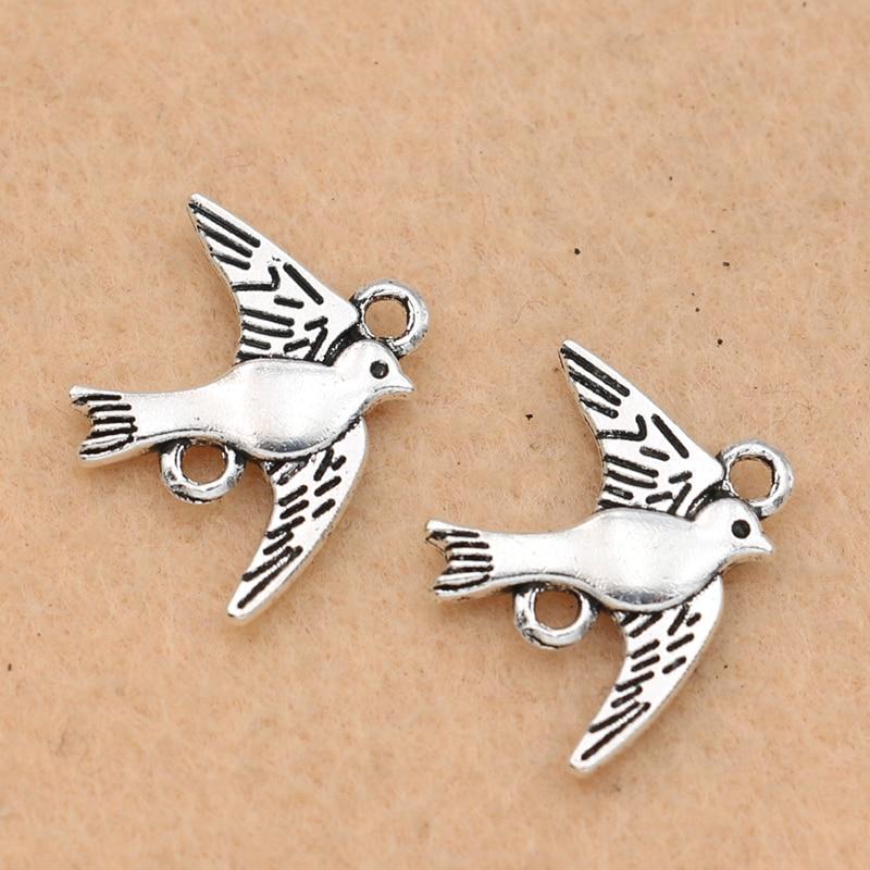 KJjewel античные посеребренные соединители птицы для изготовления ювелирных изделий браслет ремесло Diy аксессуары 21x18мм