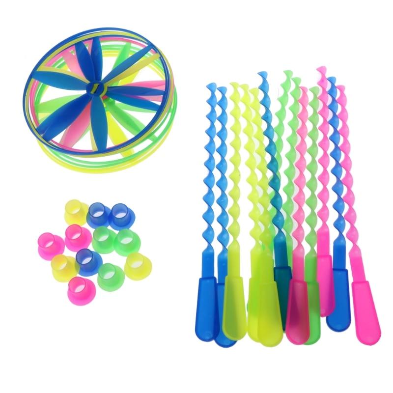 חבילה של 12 Twisty צלחות מעופפות מגוון צבעים מסוקי ילדים צעצועי Gifts-M15