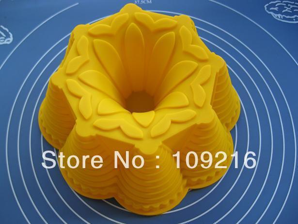 1 piezas gran flor verde de buena calidad 100% silicona de grado de Alimentos/pastel de hielo/jalea/pudín/Muffin molde para cupcakes DIY