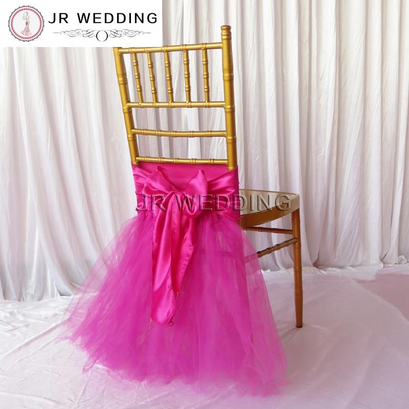 5pcs New Desgin TuTu Tulle Chiavari  Tutu Chaiur Skirt Wooden Chair Cover For Birthday Use Party