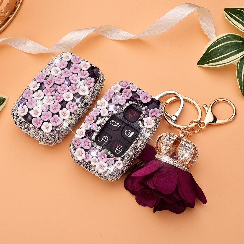 Étui à clés en diamant de luxe   Portefeuille de protection pour Land Rover A9 Range Sport Evoque Freelander 2 pour Jaguar XE XJ XJL XF F Pace